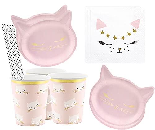 Libetui Juego de vajilla de 42 piezas, diseño de gatos, para fiestas de cumpleaños infantiles, platos, vasos, servilletas, para niños y adultos, para hasta 6 personas