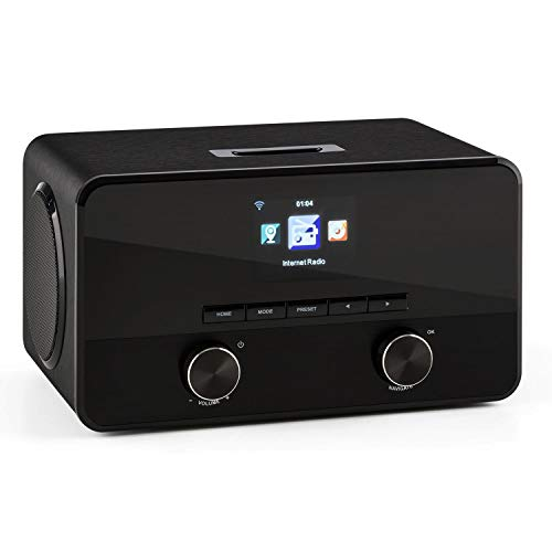 TESTURTEIL: SEHR GUT auna Connect 100 BK - Internetradio, Digitalradio, WLAN Radio, Bluetooth, MP3-USB, AUX, Wecker, Farbdisplay, Breitbandlautsprecher, pianoschwarz