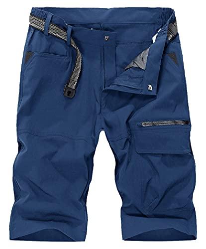 KEFITEVD Mountainbike Shorts Herren Sommer Leichte Outdoor Hose Knielang Dünne MTB Shorts Kurz Trekking Wandern Hose Angelbekleidung Light-Navy 32