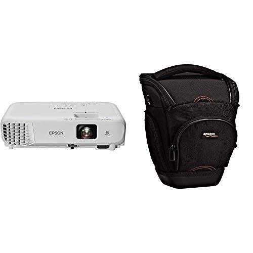 Epson EB-S05 Videoproiettore 3LCD, SVGA da 3.300 lumen, Bianco & AmazonBasics - Custodia per macchine fotografiche reflex, colore: Nero