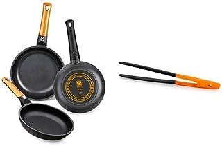 BRA Efficient Orange - Set de 3 sartenes + Air - Pinza de cocina de nailon