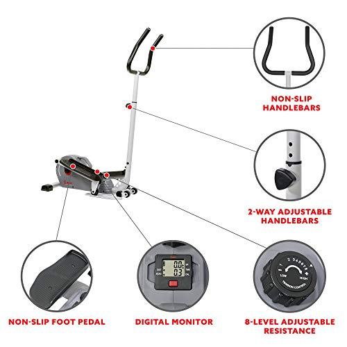 Product Image 3: Sunny Health & Fitness Magnetic Standing Elliptical with Handlebars – SF-E3988, Grey