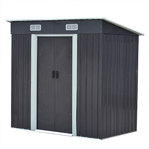FIDOOVIVIA Outdoor Metal Garden Storage Shed Box Waterproof Anti-corrosion with 2 Sliding Doors, 2 Vents and Floor Foundation(4Ft X 6Ft, Grey)