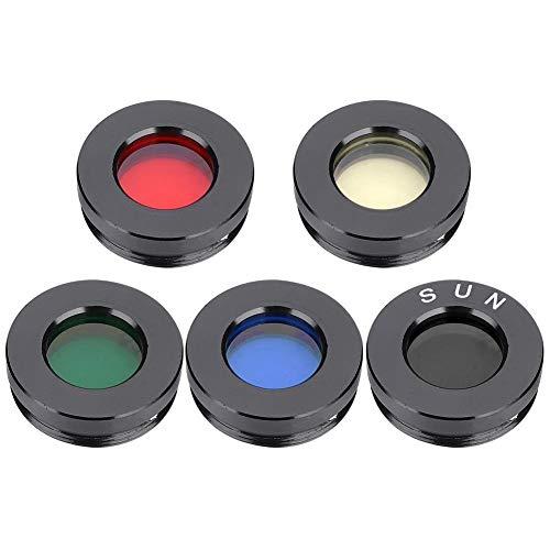 VBESTLIFE 5Pcs Telescopio Oculare Kit Filtro Obiettivo, Colore Filtro in Alluminio, Visualizzazione Migliorata Oculare Ottico 0.96 Pollici Telescopio Astronomico per Nebulosa Pianeta Sole Cielo
