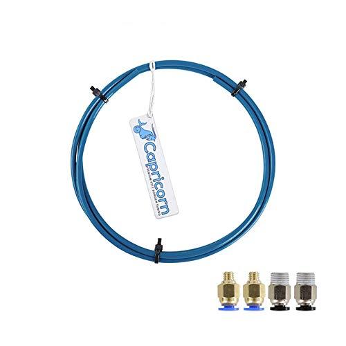 Tubo in PTFE, tubo in teflon PTFE Capricorn (2 metri in totale) con 2 pezzi di connettori pneumatici PC4-M6 e 2 pezzi di connettore PC4-M10 per stampante 3D Filamento 1,75 mm