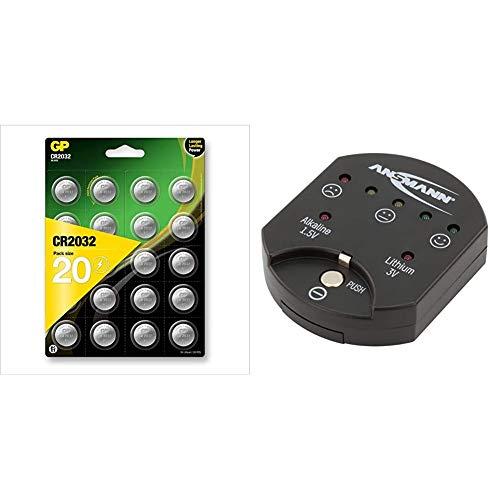 GP CR2032 Lithium Knopfzellen 3V, Knopfbatterien CR 2032 / DL2032, Spannung 3 Volt & ANSMANN Knopfzellentester/Zuverlässiges Testgerät zum Anzeigen der Kapazität über LEDs