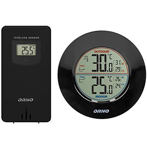 Orno OR-SP-3100 Wetterstation Funk mit Außensensor Thermometer Innen/Ausen Batteriebetrieben Wetterfest IPX6 60m Reichweite (Schwarz)