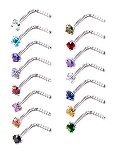 15 Pezzi 20 Gauge Anello di Naso a Forma L Curvo Naso a Bottone Curvo Bar Piercing Gioielli, 15 Colori