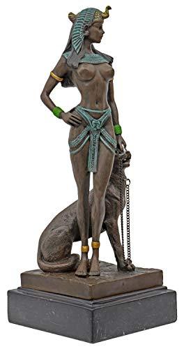 Scultura Cleopatra Pantera in Bronzo Anticato Figura Statue 26cm