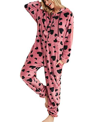 Orshoy Damen Fleece-Onesie mit Bündchen an Arm- und Beinabschluss, extrem Kuscheliger Damen Jumpsuit, Overall Einteiler, Homewear Rosa S