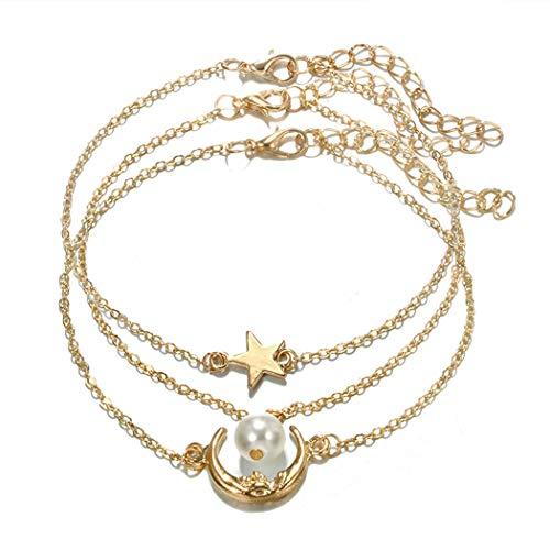 Tobillera de Ludress Boho con capas doradas, diseño de luna, para tobillo con estrella, colgante de moneda, joyería para mujeres y niñas