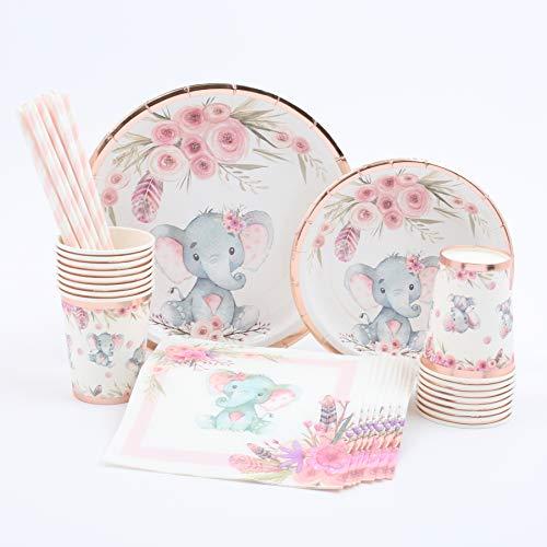 Elephant Baby Shower   Stunning Real Rose Gold Foil   Serves 32   Elephant Party Supplies   Elephant Baby Shower or Birthday for Little Girl