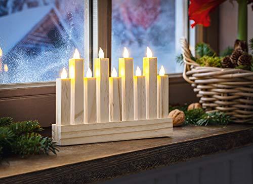 LED Lichter-Board mit 9 Kerzen aus Holz, Kerzenleuchter, Adventsdekoration