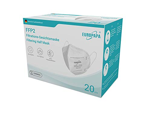 EUROPAPA 20x FFP2 Atemschutzmaske CE 2163 Zertifiziert 5-Lagen hygienisch einzelverpackt Mundschutzmaske EU 2016/425 Geschenk je 10xSchaumstoff-Dichtlippe und Ohrschlaufhake