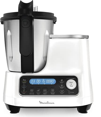 Moulinex ClickChef Robot de cocina multifunción 3.6 l Recetario en Castellano, 5 programas Auto, temperatura de 30 a 120 grados Celsius, 12 velocidades, 1400 W, 32 funciones, vaporera Blanco, HF45PRBL