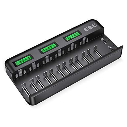 EBL 12+2 Bay Akku Ladegerät-Schnell Batterie ladegerät-für AA/AAA/C/D NI-MH/NI-CD Akku & 9V NiMH/NI-CD/Li-ion Akku automatische Erkennung & Abschaltung, LCD Anzeige Batterienladegerät