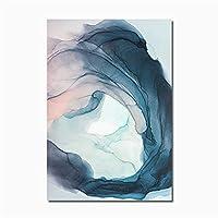水彩ブルーインクブルームモダンな抽象キャンバス絵画ノルディックポスターとプリント壁アート写真のリビングルームの家の装飾 (Color : C, Size (Inch) : 50x70cm No Frame)