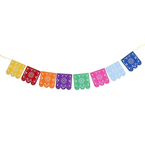 VORCOOL Papel de Mxico Picado Banner Vibrante Colorida Flor Paneles de Papel de Seda para la Fiesta de Bodas de cumpleaos
