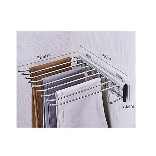 XYL Perchero para Pantalones Extraible para Armario, Perchas Extensibles para Pantalones con 9 Brazos para Armario de 46 cm de Profundidad