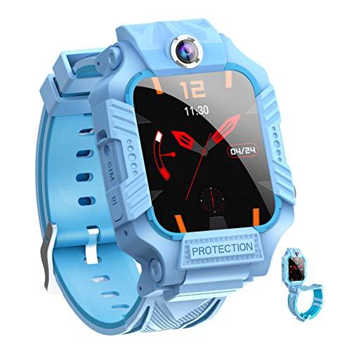 HQPCAHL Smartwatch per Bambini con 2 Fotocamere - SOS Two Way Call 1.44 Touchscreen GPS Smart Watch per Bambini 3-13 Anni Ragazzi Ragazze Studenti Compleanno,Blu