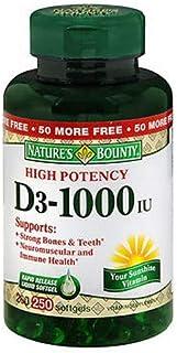 Nature's Bounty 維生素D3快速釋放軟膠囊, 1000 IU,250粒(2件裝)
