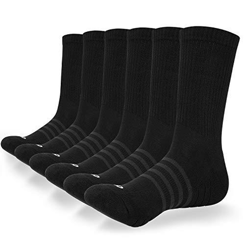 coskefy Socken Herren Damen Baumwolle 6 Paare Lange Warm Weich Sportsocken für Fitness Tennis Trekking Joggen Laufen Alltag (Schwarz-M09-P, 43-46)