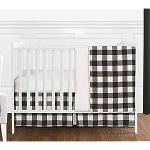 Sweet Jojo Designs Black and White Rustic Woodland Flannel Buffalo Plaid Check Baby Unisex Boy or Girl Nursery Crib Bedding Set – 4 Pieces – Country Lumberjack