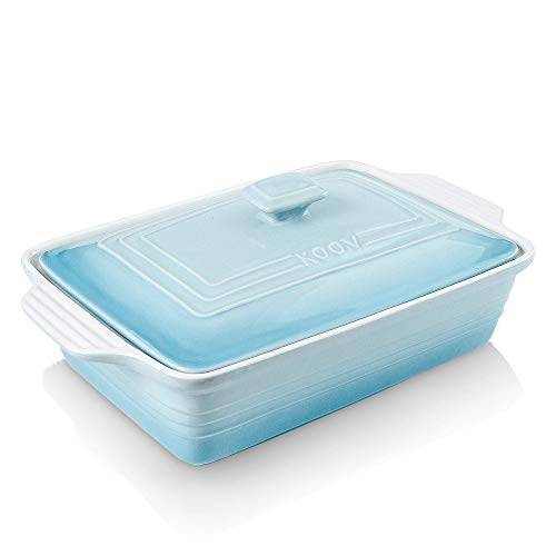 KOOV Ceramic Casserole Dish with Lid, Covered Rectangular Casserole Dish Set, Lasagna Pans with Lid for Cooking, Baking dish With Lid for Dinner, 9 x 13 Inches, Gradient Series (Gradient Arctic)