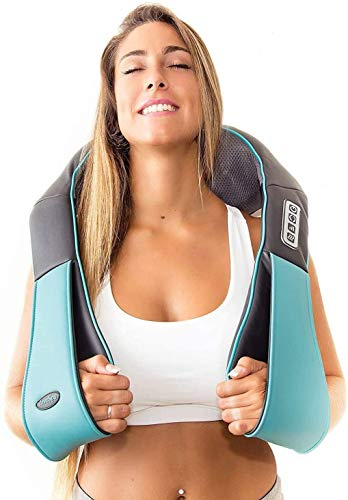 Shiatsu Back shoulder & Neck Massager With Heat - Deep Tissue 3D Kneading Pillow Massager for Neck, Back, Shoulders, Foot, Legs - Electric Full Body Massage - for Home & Car