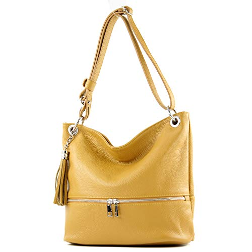 modamoda de -. Ital signore borsa in pelle tracolla borsa tracolla in pelle borsa T143, Colore:giallo senape