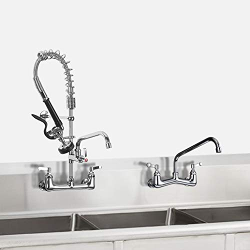 JZBRAIN Commercial Wall Mount Kitchen Sink Faucet with Pull Down Pre-Rinse Spray 25 Inch Height 8