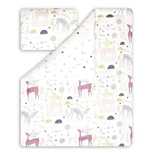FunwithMUM Parure de lit pour enfant avec oreiller et garnissage chaud à l'intérieur en coton doux et confortable de haute qualité – Cerf