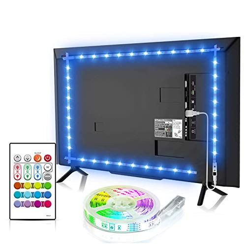 Bason TV LED Backlight, 13.09ft USB Led Lights Strip for TV/Monitor Backlight, Led Strip Light with Remote, TV Bias Lighting for Room Home Movie Decor(60-70inch), Updated.