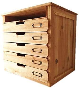 Organizador de cajones para el escritorio del hogar u oficina - Cofre de madera - 5 organizador de archivos planos con cajones y 1 bandeja de papel de papel - Organizador de escritorio con cajones de