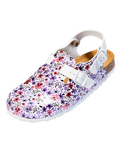 CLINIC DRESS - Clog für Damen Blüten Dark Lavender weiß/Dark Lavender, Motiv Blumen 39