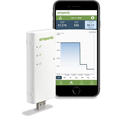 Emporia Vue Smart Home Energy Monitor | Works only w/PG&E, SCE, SDGE, PPL, First Energy, Ohio Edison, Burlington Electric & Green Mountain Power | Connects to Your Electric Meter | Solar Net Metering