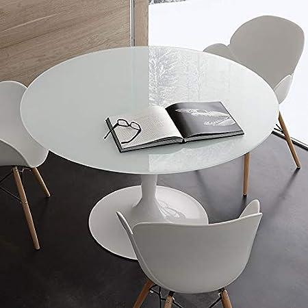 Tavolo Rotondo Bianco Usato.M 029 Tavolo Rotondo Bianco In Vetro E Acciaio Olivia 2 Amazon It Casa E Cucina