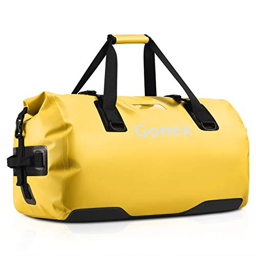 Gonex 60L Large Waterproof Duffle, Durable Travel Dry Duffel Bag for Kayaking Boating Fishing Outdoor Adventure Yellow
