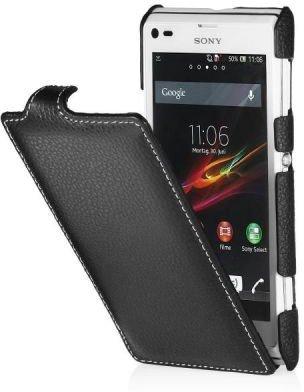 StilGut UltraSlim Case Custodia pieghevole in vera pelle per Sony Xperia L