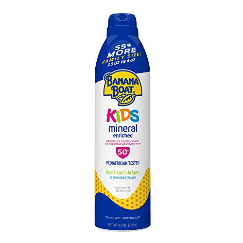 Banana Boat Simply Protect Tear Free, Reef Friendly Sunscreen Lotion Spray for Kids, Broad Spectrum SPF 50, 25% Fewer Ingredients, 9.5 Ounces