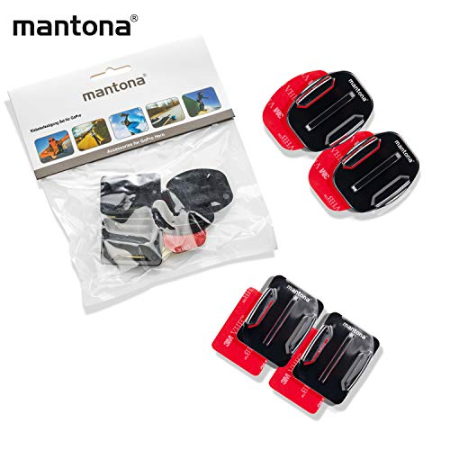 Mantona 3M Klebebefestigung 4er Set (flach und gebogen, GoPro Session, geeignet für GoPro Hero 2/3/3+/4)