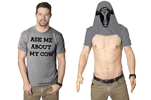 Mens Ask Me About My Cow Funny Farm Animal Flip Up T shirt (Grey) S
