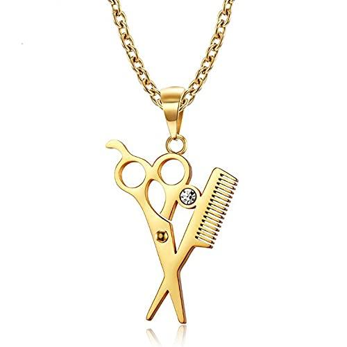 Acero inoxidable oro peine tijeras peluquería colgante collar barbería Hip Hop cristal tijeras collares regalo para él