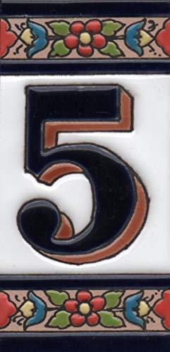 Hausnummern aus Keramik mit Zahlen und Buchstaben, rot, blau und grün, Blumenmotiv, Größe: 11 cm x 5,5 cm (Nummer 5)