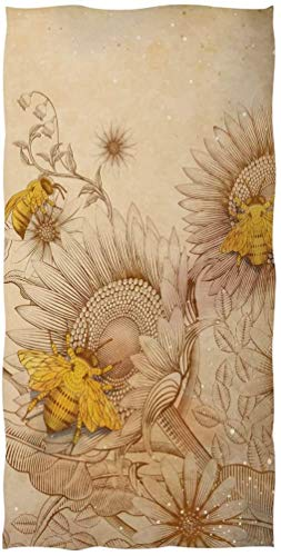 OMAJIG - Toalla de baño con diseño de abejas y flores silvestres (38 x 76 cm), color beige