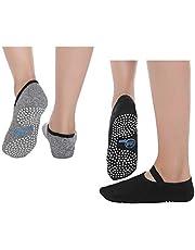 SANIQUEEN.G 2 paar yoga-sokken voor heren en dames, antislip, ademend, yoga, pilates, dans, fitness, sport, workoutsokken, EUR dames 35-40/mannen 38-44