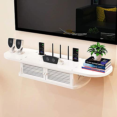 KANGNING 2 Niveles Modern Moderd Media Console Floating TV Shelf TV Stand para Xbox One / PS4 / Cable Box/DVD Players/Game Console (White)-B Well