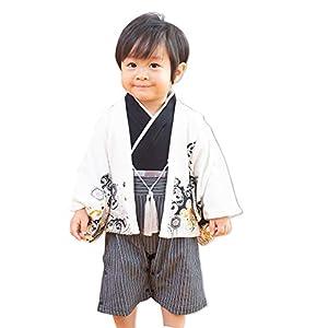 袴カバーオール ロンパース ベビー 赤ちゃん 子供服 フォーマル 男の子 羽織 セット 白 80cm 10657506OW80
