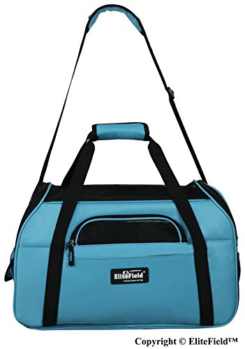 EliteField Soft Sided Pet Carrier (3 Year Warranty, Airline Approved), Multiple Sizes and Colors Available (Medium: 17 L x 9 W x 12 H, Sky Blue)