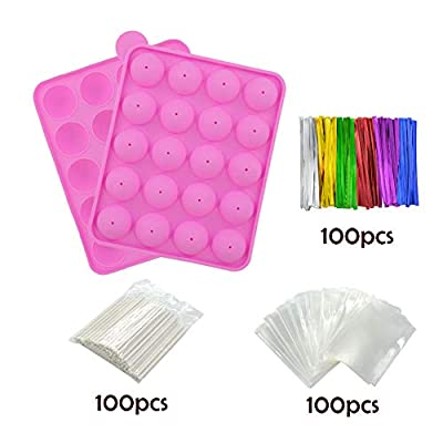BPA Free Cake Pop Mold, Silicone Silicone Molds with 100 cake pop sticks+100 Treat Bags+ 100 Twist Ties in mix Colors, Great for Hard Candy, Lollipop, Cake Pop and Party Cupcake